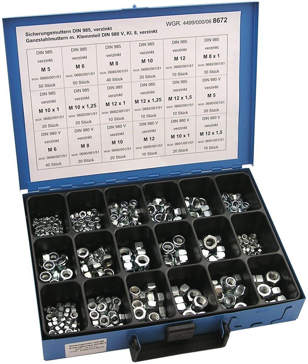 Pojistné matice 6hranné DIN 985 a DIN 980 V, pozinkované, sada 450 ks v kufru