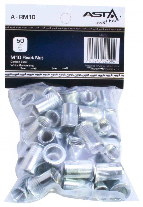 Maticové nýty M10 x 21 mm, s plochou hlavou, ocel, balení 50 ks - ASTA