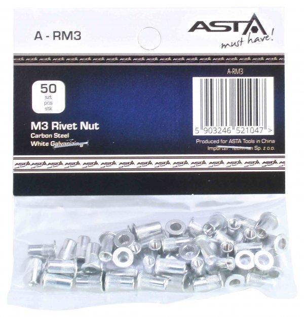 Maticové nýty M3 x 10 mm, s plochou hlavou, ocel, balení 50 ks - ASTA