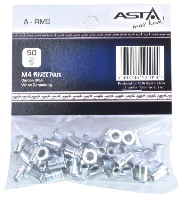 Maticové nýty M5 x 13 mm, s plochou hlavou, ocel, balení 50 ks - ASTA