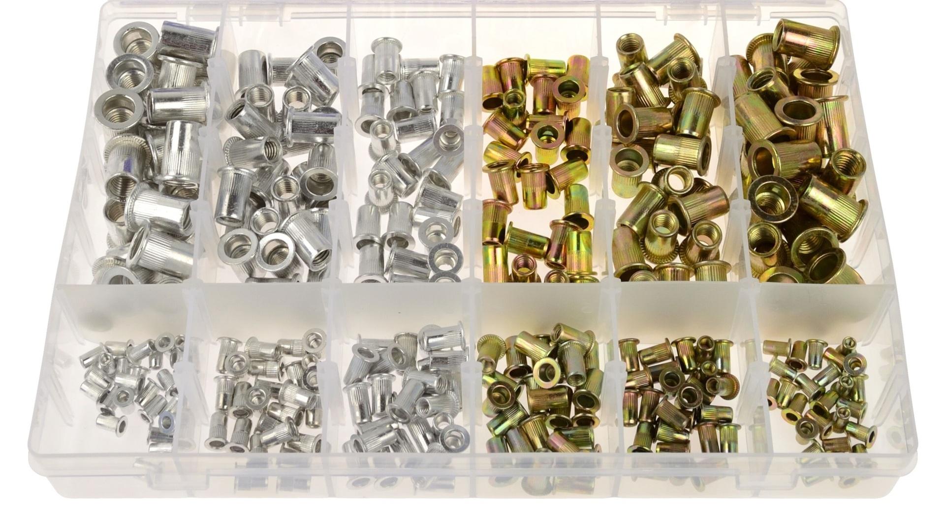 Maticové nýty - nýtovací matice, M3 - M10, plochá hlava, ocel a hliník, sada 300 kusů