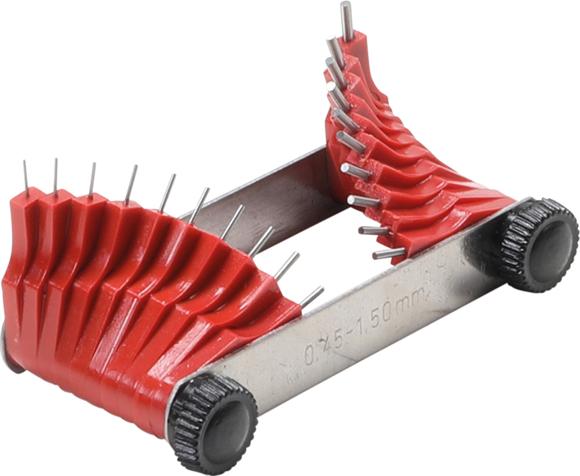 Měrky na kontrolu trysek karburátoru 0,45-1,50 mm, sada 20 ks - BGS 3041