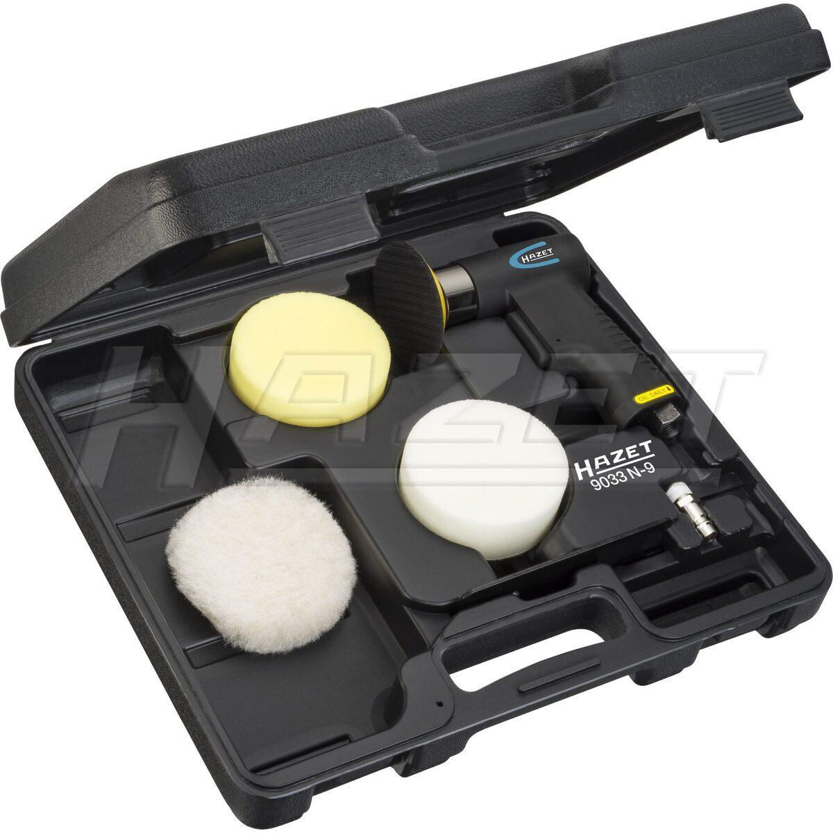 Mini sada na leštění - pneumatická leštička a kotouče, 6 dílů - HAZET 9033N-9