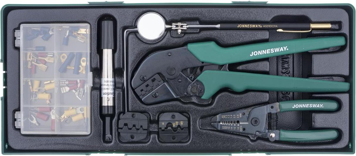Modul plastový - sada pro elektrikáře, krimpovací kleště, konektory - JONNESWAY V1311SP