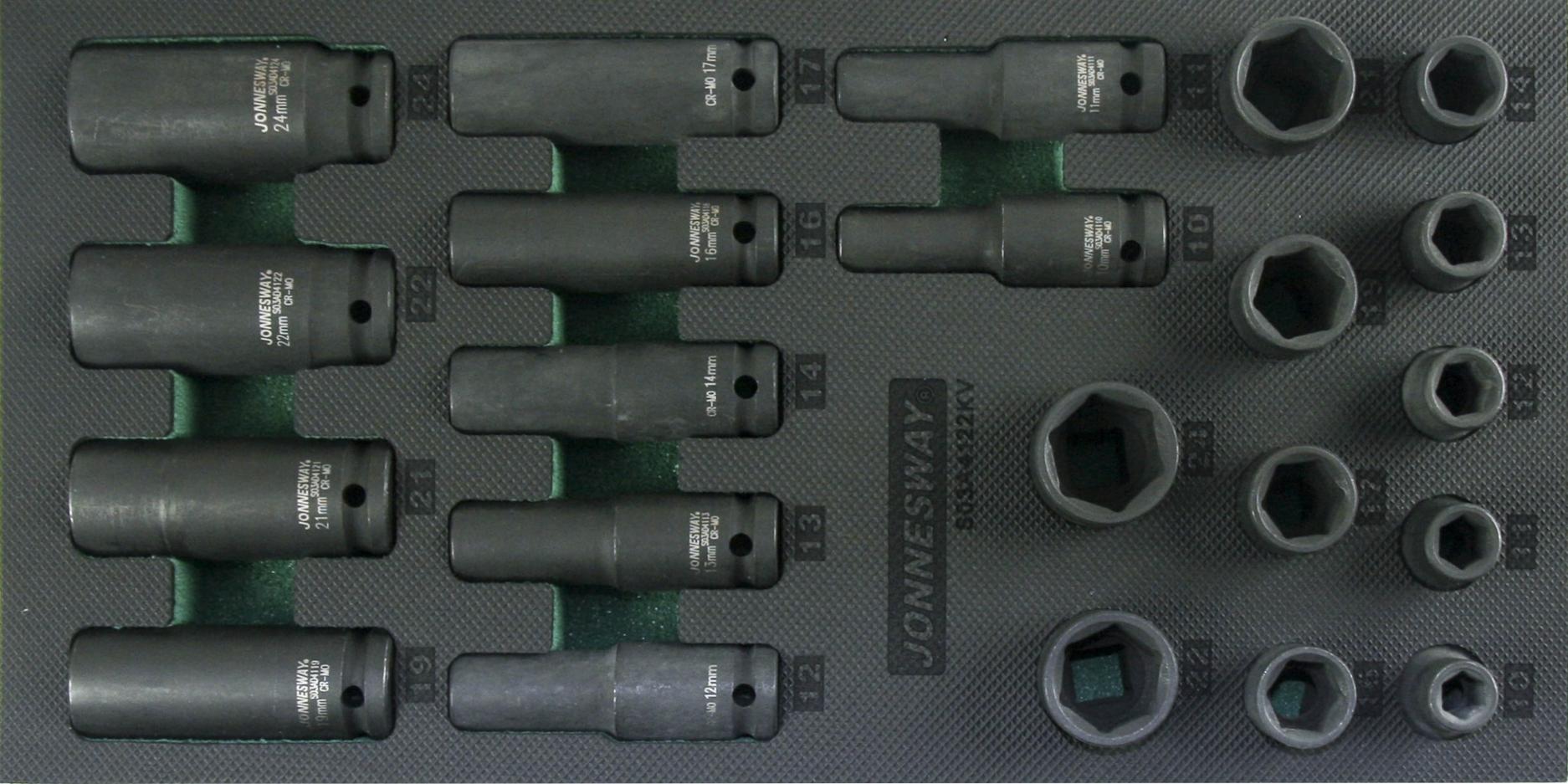 "Modul pěnový - hlavice úderové 1/2"", 10 - 24 mm, 6hranné, 22 ks - JONNESWAY S03A4122KV"