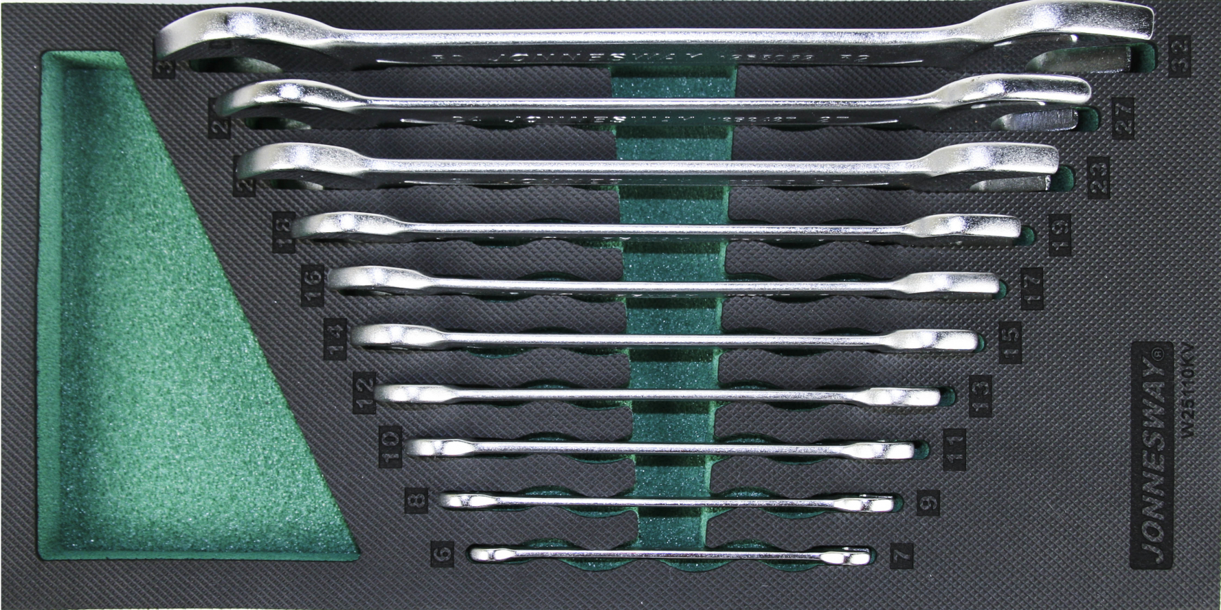 Modul pěnový - klíče ploché otevřené, 6x7 - 30x32 mm, sada 10 ks - JONNESWAY W25110KV