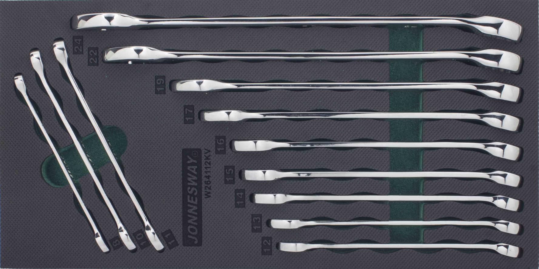 Modul pěnový - očkoploché klíče prodloužené 8 - 24 mm, sada 12 ks - JONNESWAY W264112KV