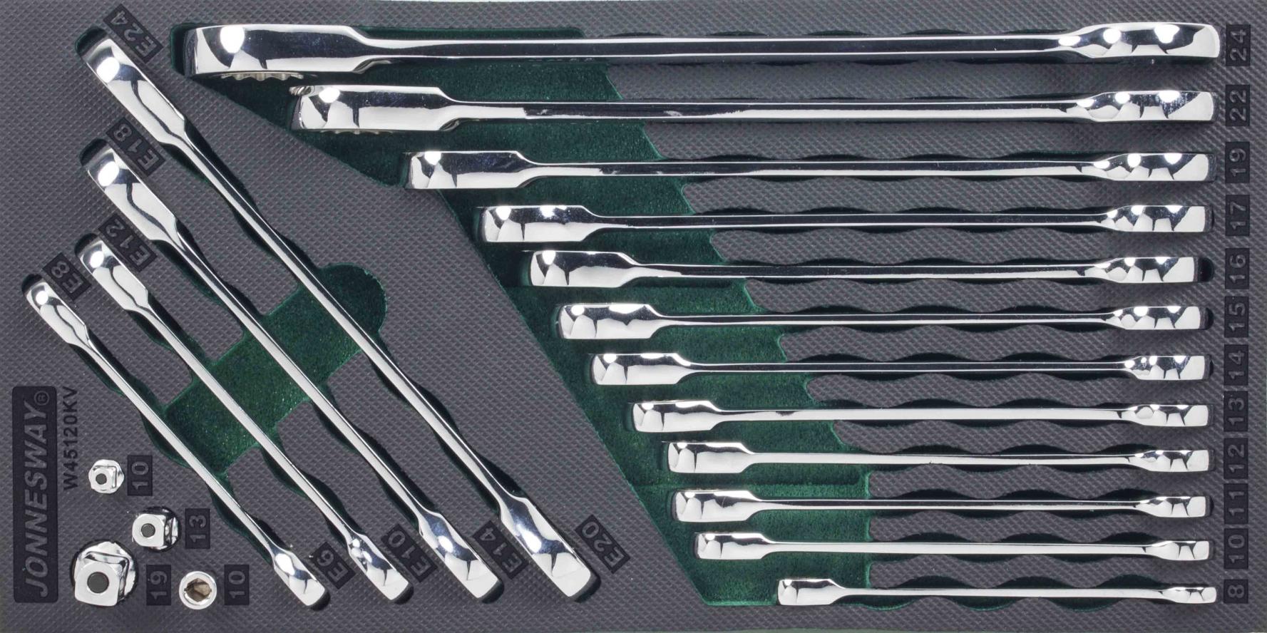 Modul pěnový - ráčnové klíče očkoploché a TORX-E, s adaptéry, 20 ks - JONNESWAY W45120KV