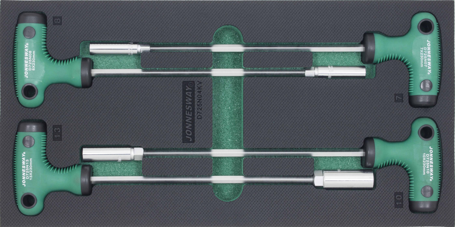 Modul pěnový - nástrčné klíče s T rukojetí, 7 - 13 mm, sada 4 ks - JONNESWAY D725N04KV