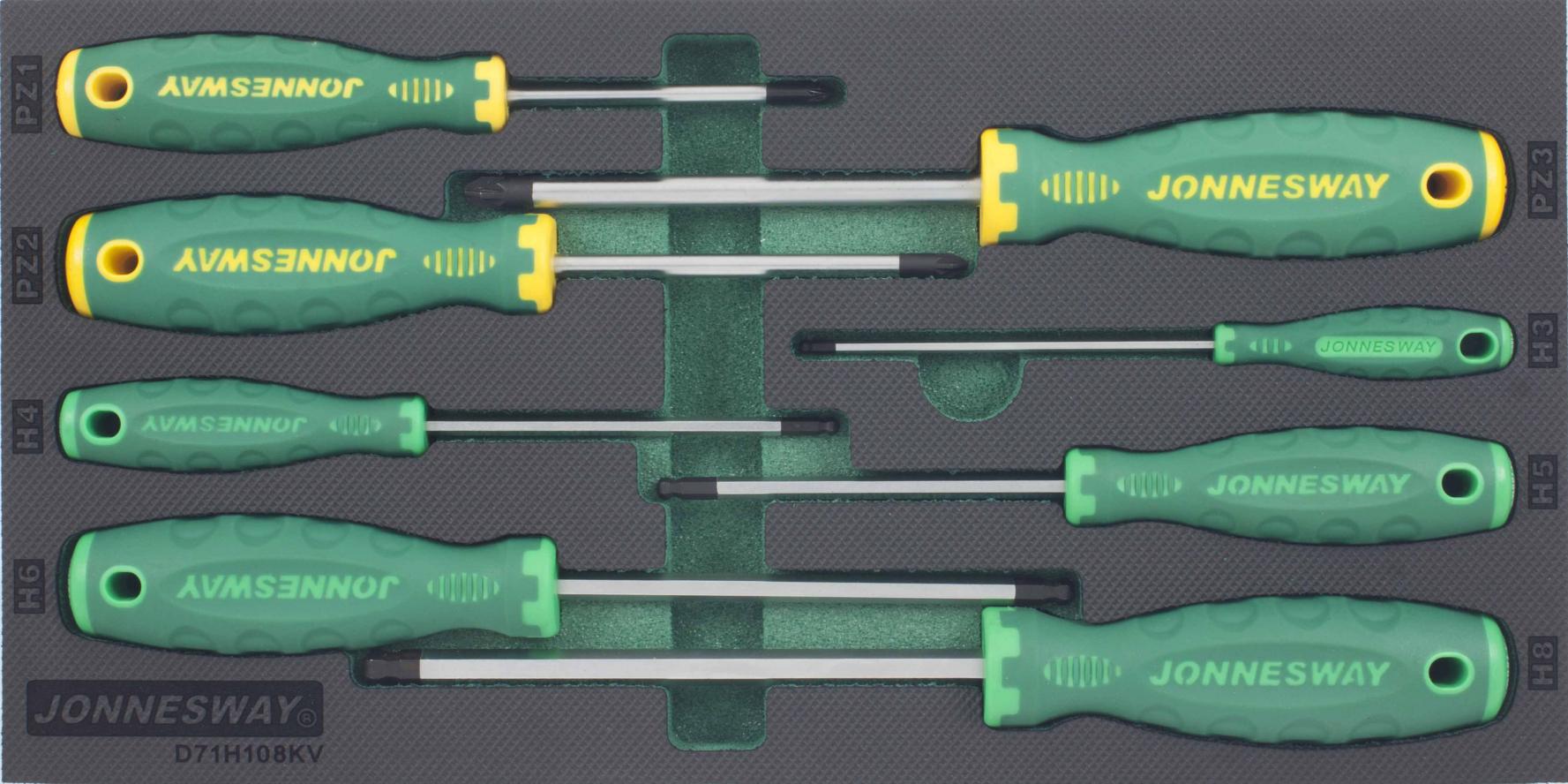 Modul pěnový - šroubováky křížové POZI a Imbus s kuličkou, sada 8 ks - JONNESWAY D71H108KV