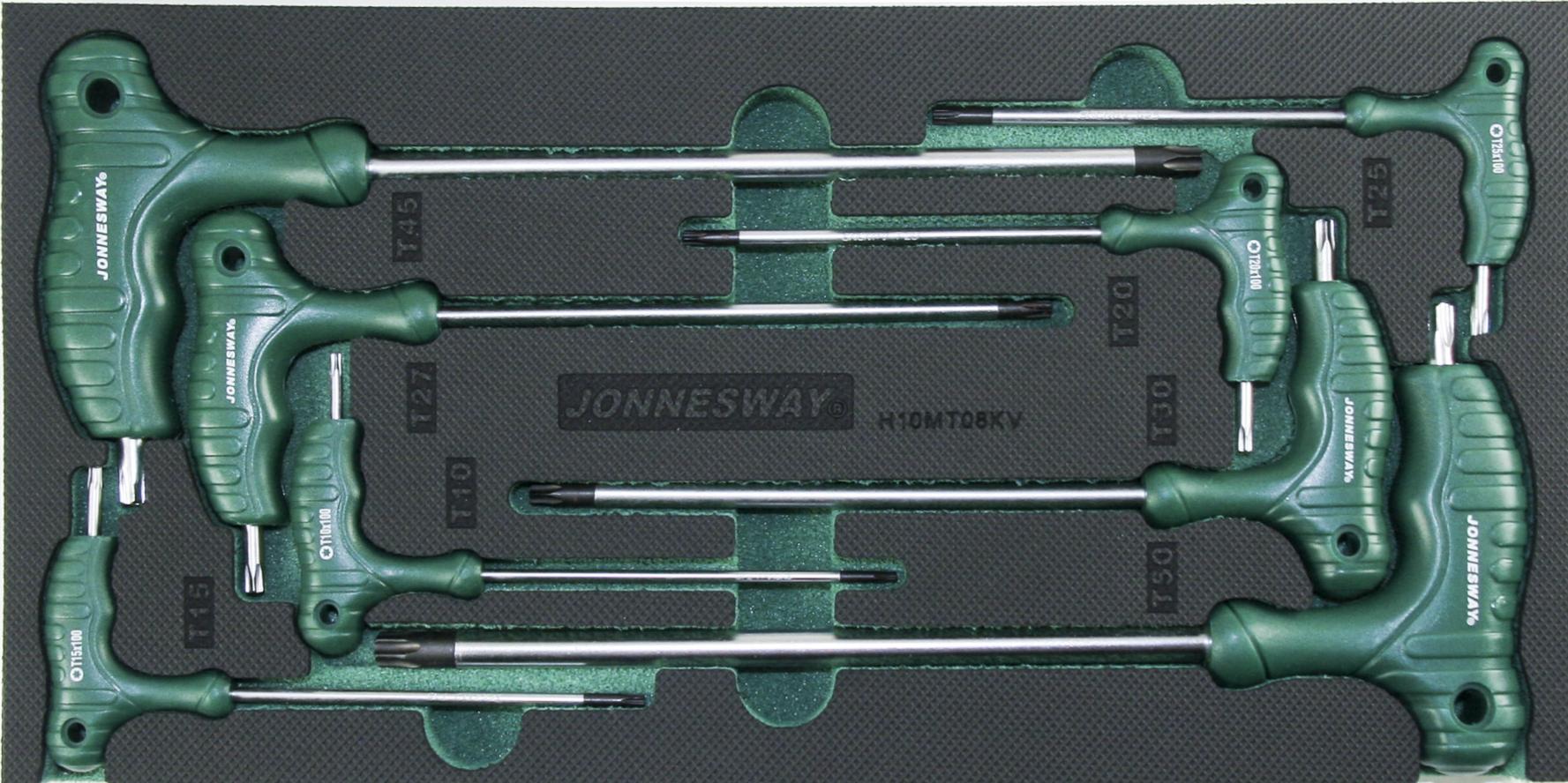 Modul pěnový - zástrčné klíče TORX s T rukojetí, T10 - T50, 8 ks - JONNESWAY H10MT08KV