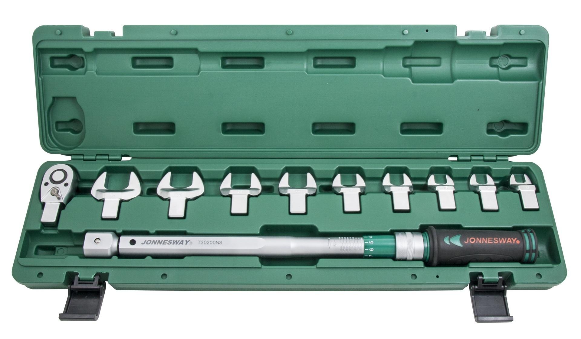 """Momentový klíč 1/2"""" 40-200 Nm, s výměnnými plochými klíči 13-30mm - JONNESWAY T30200NS"""