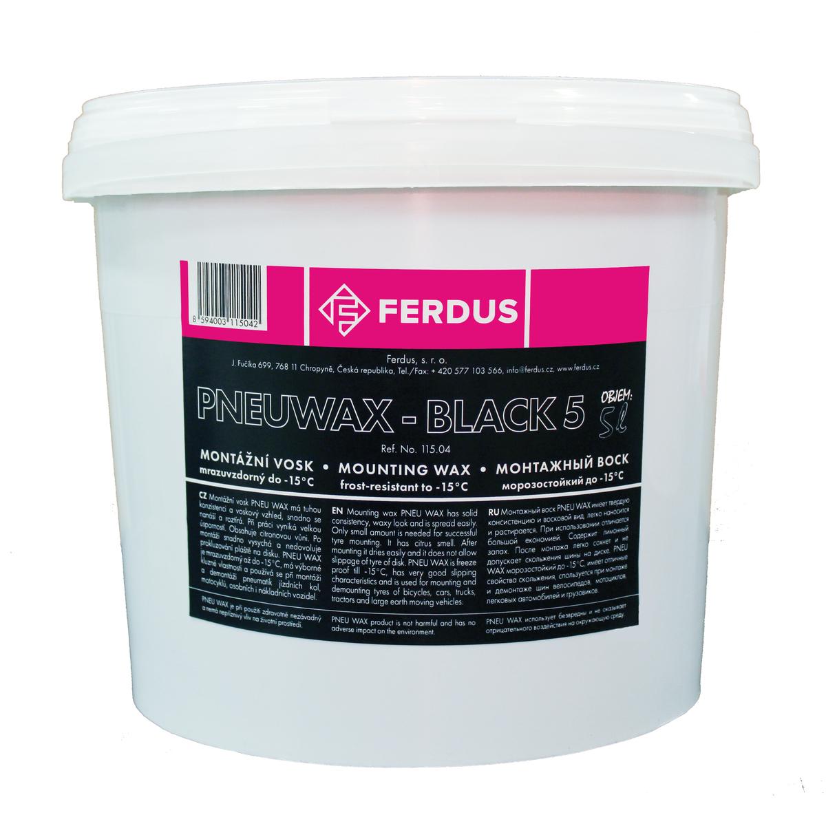 Montážní vosk, pasta Ferdus PNEU WAX - BLACK 5, černý, mrazuvzdorný, 5 litrů