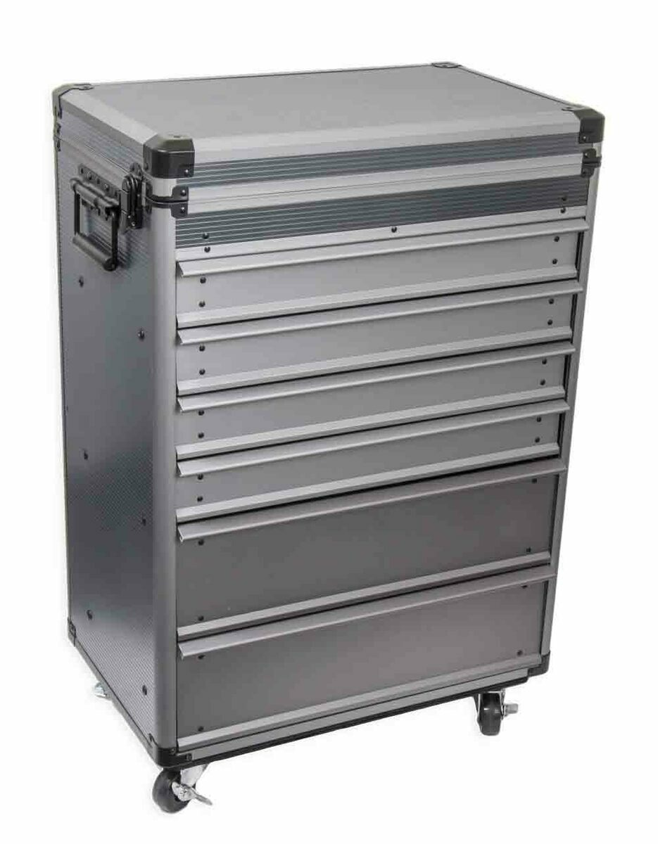Montážní vozík - pojízdný kufr, nevybavený, 6 zásuvek, hliníkový