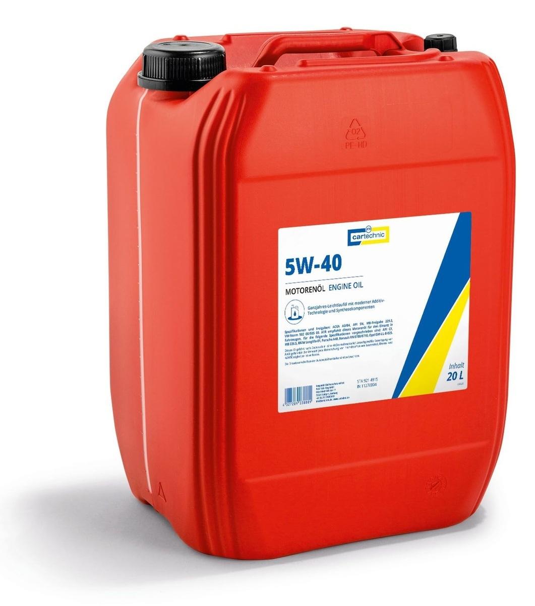 Motorový olej 5W-40, 20 litrů - Cartechnic