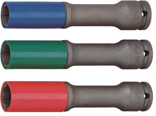 """Nástrčné hlavice 1/2"""" prodloužené s krytkou na ALU pro rázové utahováky, 17-21mm JONNESWAY"""