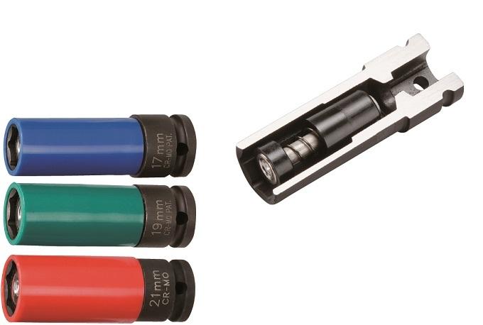 """Nástrčné hlavice úderové s magnetem, 1/2"""", s krytkou na ALU, 17-21 mm - JONNESWAY"""