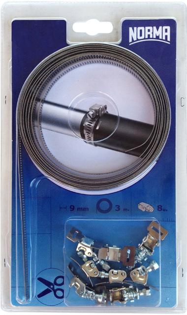 Hadicová spona - nekonečný pás 9 mm x 3 m, 8x svorka