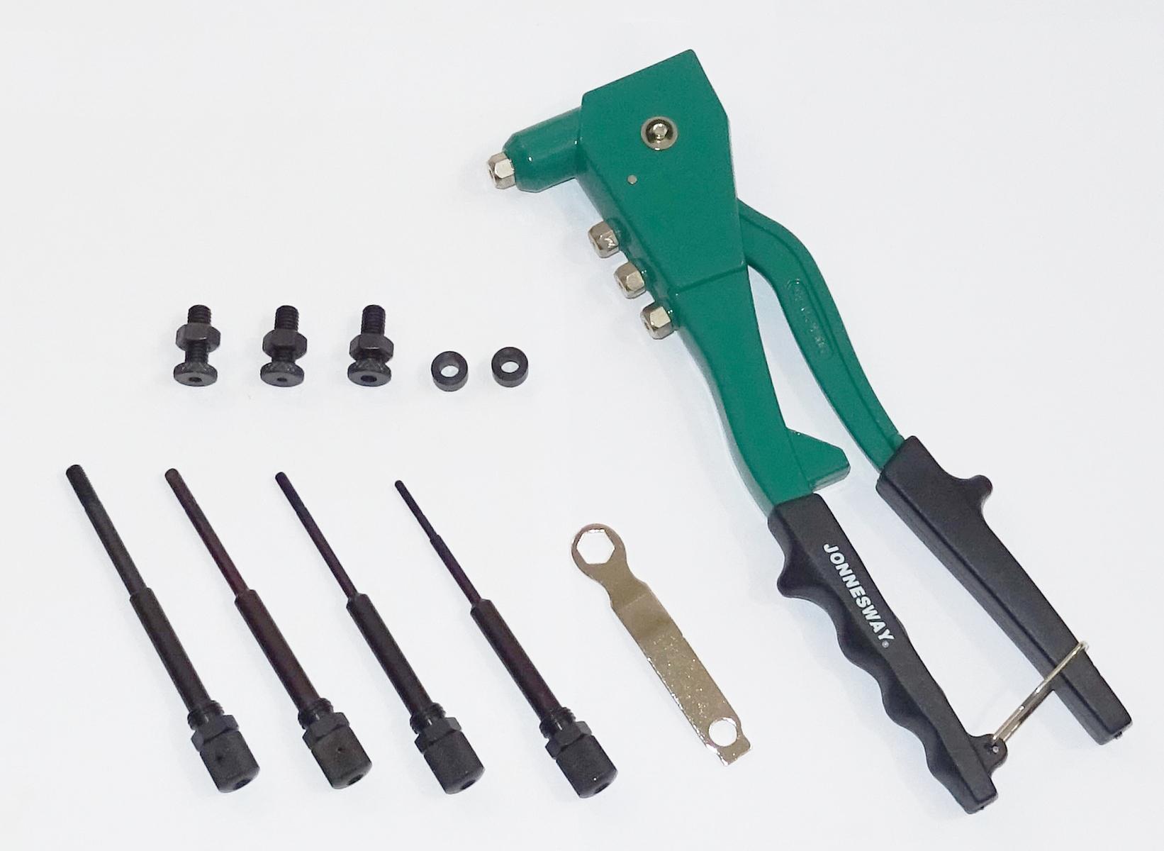 Nýtovací kleště na trhací nýty 2.4, 3.2, 4.0, 4.8 mm a maticové nýty M3-M6 JONNESWAY V1102