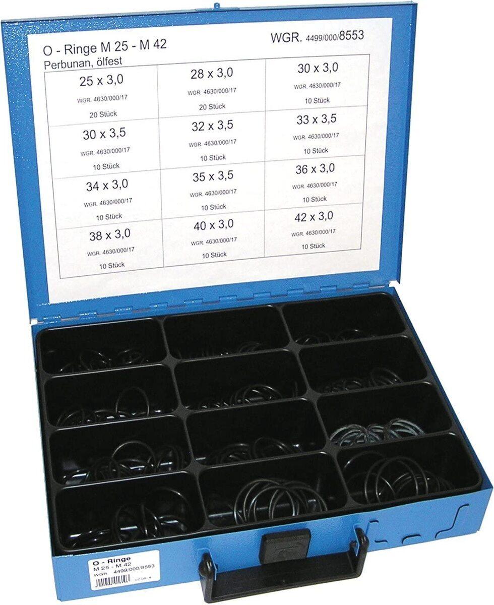 Gumové o-kroužky NBR M25-M42, pro spoje klimatizace, sada 140  ks v kufru