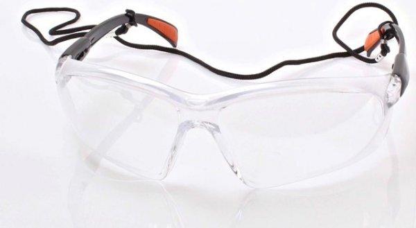 Ochranné brýle čiré, nastavitelná raménka, šňůrka na krk - SATRA