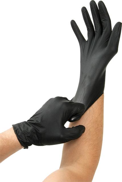 Rukavice nitrilové extra odolné, jednorázové, černé, velikost XL, 100 ks - Kunzer