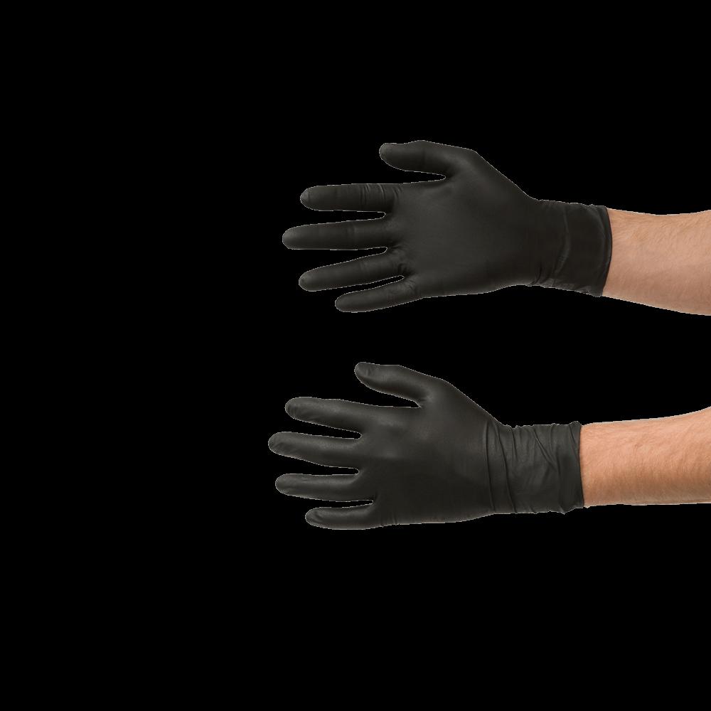 Ochranné rukavice nitrilové, velikost XL, jednorázové, černé, 60 ks - COLAD