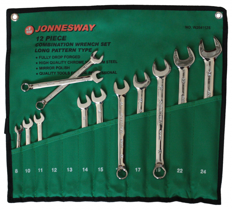 Očkoploché klíče, 8 - 24 mm, 6hranné, sada 12 kusů - JONNESWAY W264112S