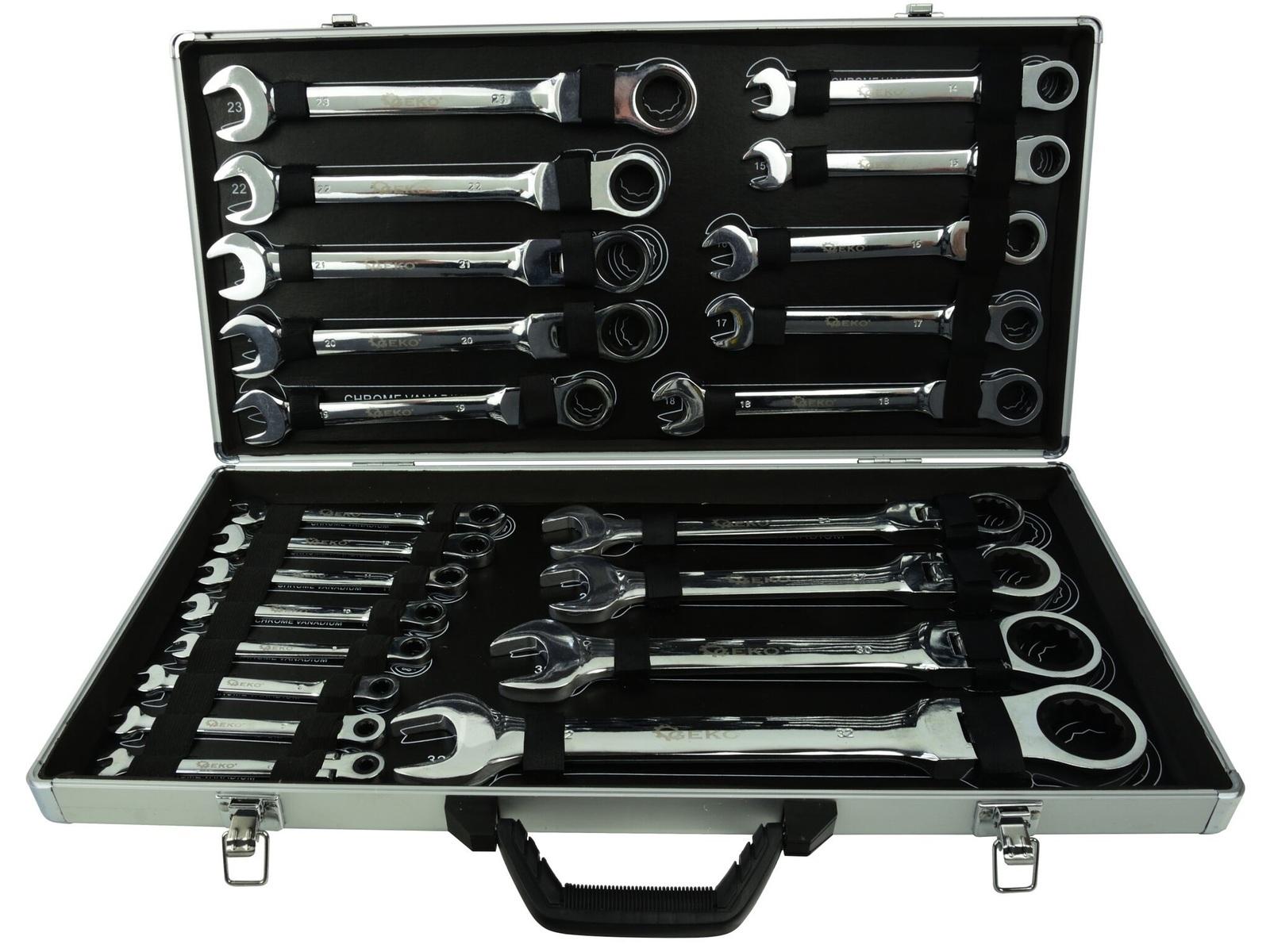 Očkoploché kloubové klíče s ráčnou, 6 - 32 mm, sada 22 kusů, v kufříku
