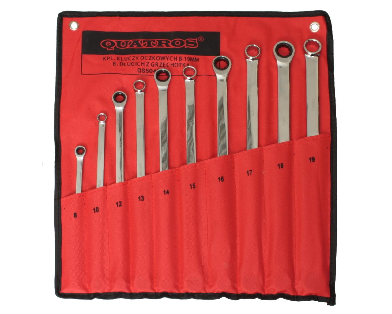 Očkové klíče s ráčnou, 8 - 19 mm, extra dlouhé, sada 10 kusů - QUATROS QS50465