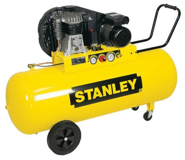 Olejový vzduchový kompresor dvouválcový, řemenový, 200 l - STANLEY B 350/10/200