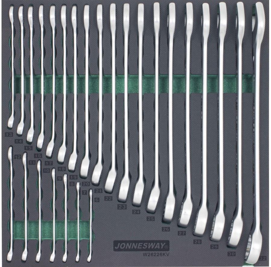 Modul pěnový - klíče očkoploché 6 - 32 mm, velká sada 26 ks - JONNESWAY W26226KV