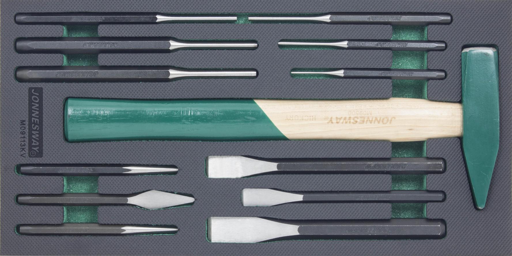 Modul pěnový - kladivo, sekáče, vyrážeče a důlčík, sada 13 dílů - JONNESWAY M09113KV
