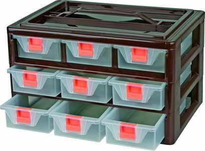 Box na nářadí 9 zásuvek, 300x170x200 mm, vrchní madlo, plast