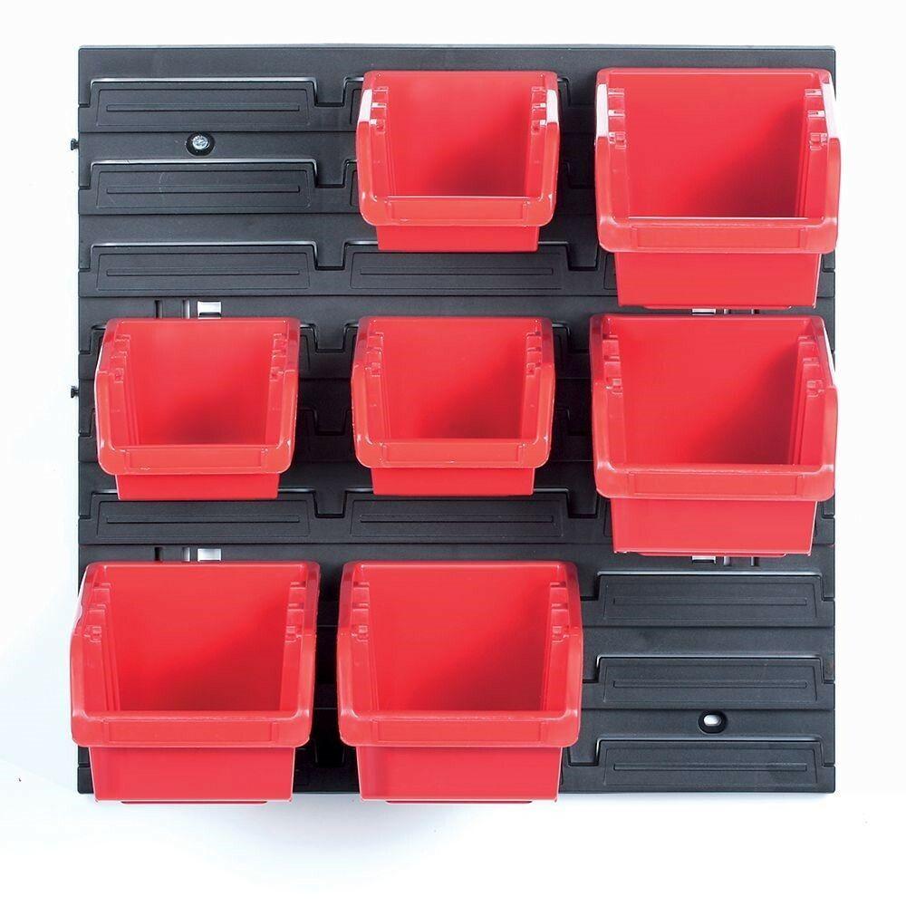 Závěsná stěna, držák se 7 boxy, 400x110x400 mm, plast - ORDERLINE