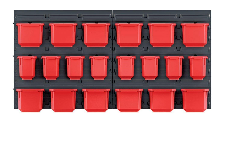 Závěsná stěna, držák s 20 boxy, 800x165x400 mm, plast - ORDERLINE