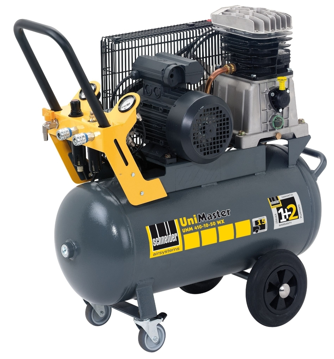 Vzduchový kompresor 50 l 230 V, olejový dvouválcový - Schneider UNM 410-10-50 W