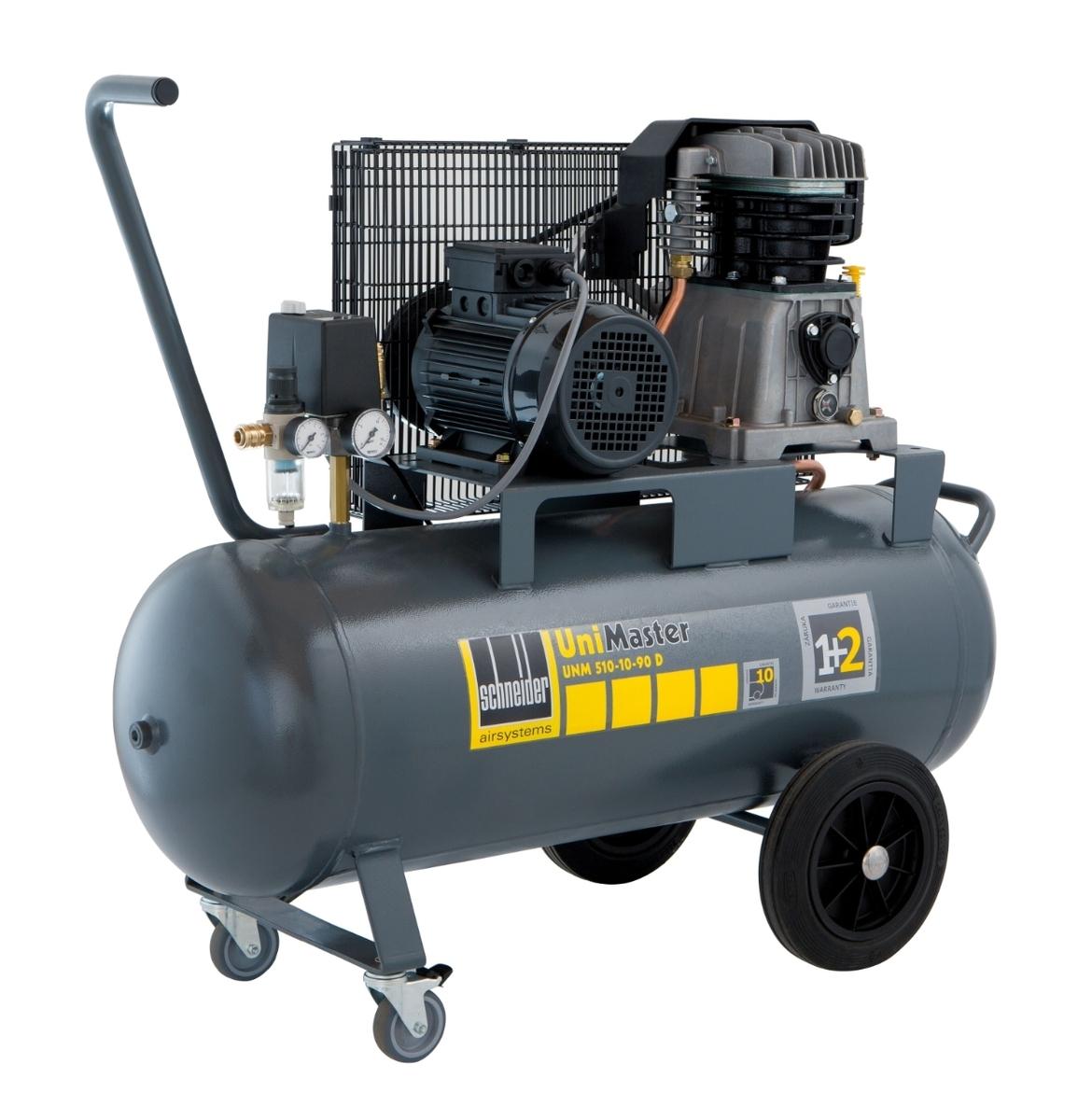 Vzduchový kompresor 90 l 400 V, olejový dvouválcový - Schneider UNM 510-10-90 D