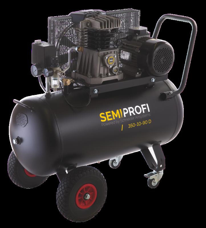 Vzduchový kompresor 90 l 400 V, olejový dvouválcový - Schneider SEMI PROFI 350-10-90D