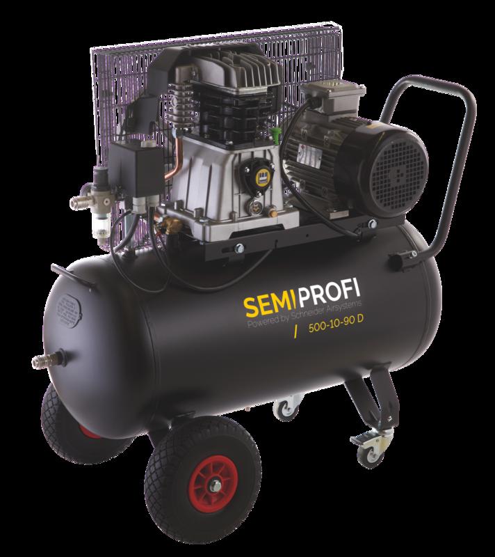 Kompresor 90 l 400 V, olejový dvouválcový - Schneider SEMI PROFI 500-10-90D
