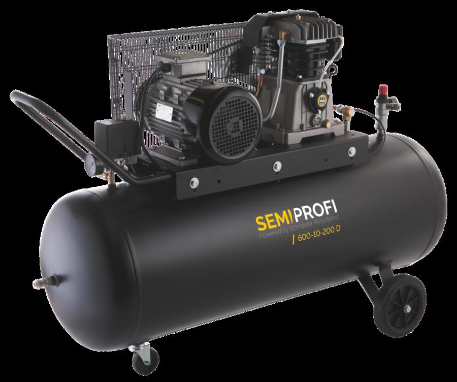 Vzduchový kompresor 200 l 400 V, olejový dvouválcový - Schneider SEMI PROFI 600-10-200D