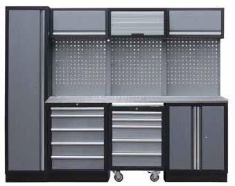 Sestava dílenského nábytku Procarosa PROFI M-I Pracovní deska: nerezová, Hmotnost: 263 kg
