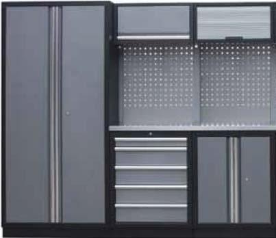 Sestava dílenského nábytku Procarosa PROFI S-I Pracovní deska: nerezová, Hmotnost: 211 kg