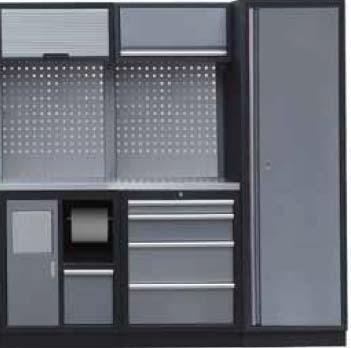 Sestava dílenského nábytku Procarosa PROFI S-II Pracovní deska: nerezová, Hmotnost: 192 kg