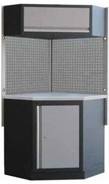 Rohová sestava dílenského nábytku Procarosa PROFI XS Pracovní deska: nerezová, Hmotnost: 1