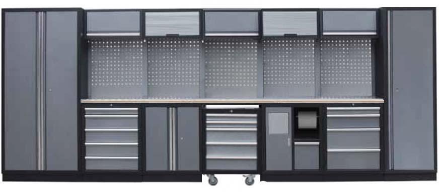 Sestava dílenského nábytku Procarosa PROFI XL Pracovní deska: dřevěná, Hmotnost: 457 kg