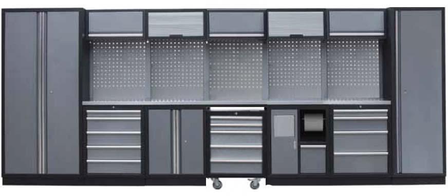 Sestava dílenského nábytku Procarosa PROFI XL Pracovní deska: nerezová, Hmotnost: 477 kg