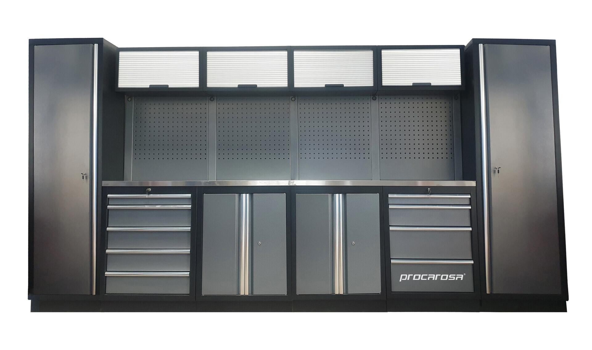 Sestava dílenského nábytku Procarosa PROFESSIONAL L-1 Pracovní deska: nerezová, Hmotnost: