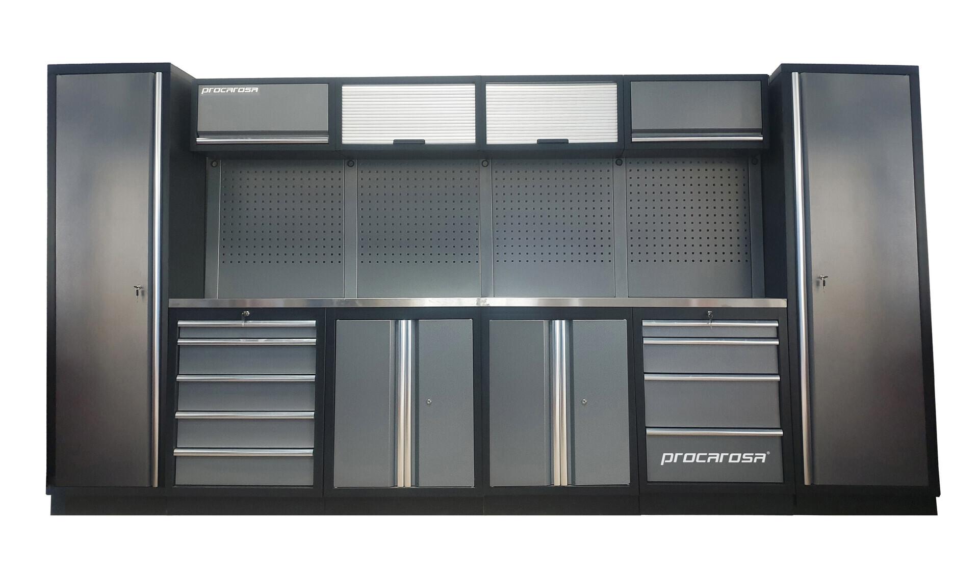 Sestava dílenského nábytku Procarosa PROFESSIONAL L-2 Pracovní deska: nerezová, Hmotnost: