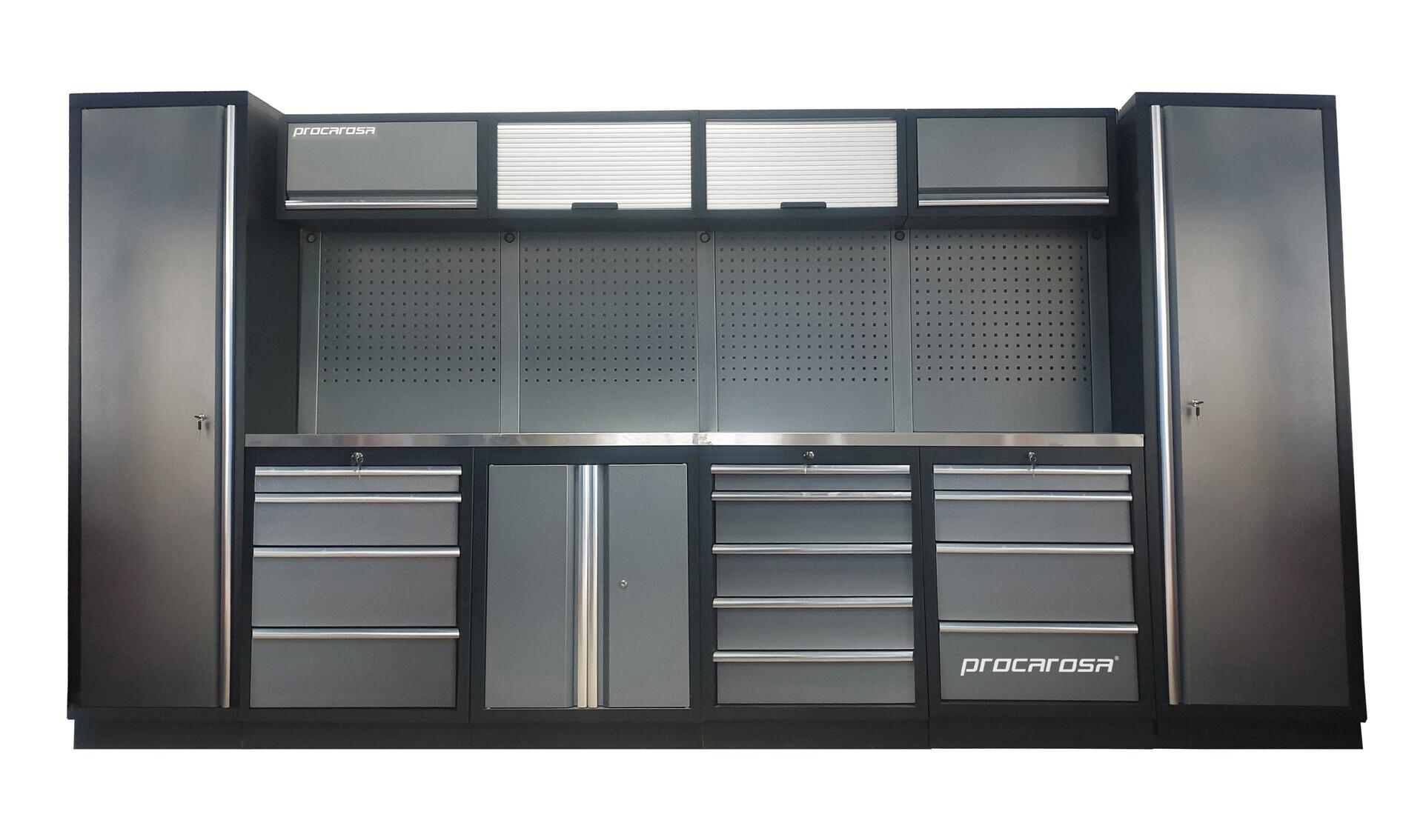 Sestava dílenského nábytku Procarosa PROFESSIONAL L-4 Pracovní deska: nerezová, Hmotnost: